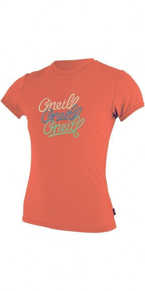 O'NEILL GIRLS RASH T SHIRT.SKINS UPF50+ SUN PROTECTION CORAL VEST TOP 8S 118 294